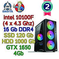 Игровой компьютер / ПК  intel i3-10100F (4 x 4.3GHz) + 16Gb DDR4 + SSD 120 + 1000Gb + GTX 1650 4Gb + 500W