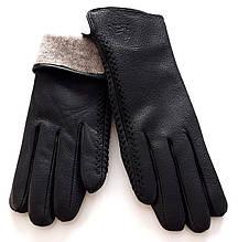 Перчатки жіночі Ginge шкіра оленя, шерсть сітка (6,5-8,5) чорні