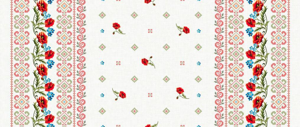 Ткань Рогожка для скатертей - Маки, фото 2