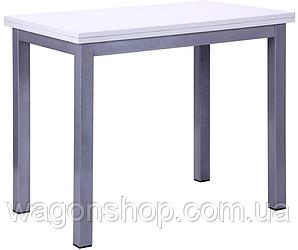 Стол обеденный раздвижной Кадис AMF алюминий/меламин белый глянец