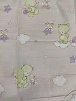 Детский комплект постельного белья (кроватка), с мишками, розового цвета , бязь (хлопок), Украина. 120 * 60