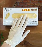 Перчатки смотровые латексные, неопудренные UNEX (50 пар - 100 шт.) размер M