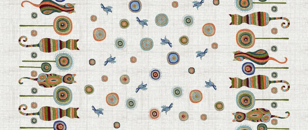 Скатертная ткань Рогожка  - Коты, фото 2