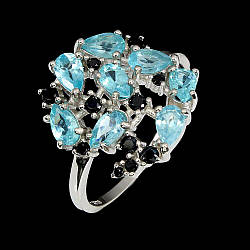 Серебряное кольцо с апатитом и шпинелью, 2602КЦА