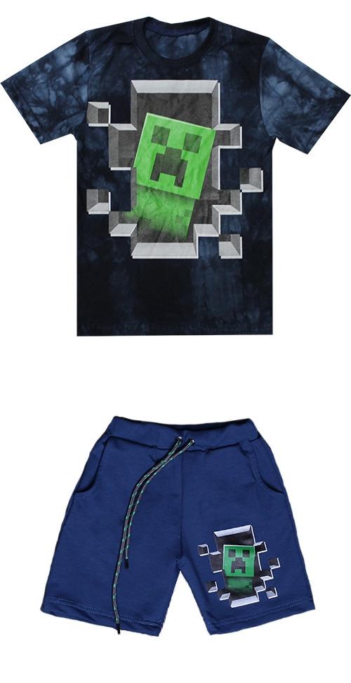 Костюм Майнкрафт комплект футболка + шорти Крипер ріст 122