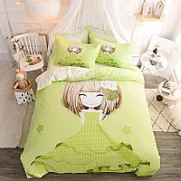 Комплект постільної білизни Дівчинка і азалія (двоспальний євро) Berni Home, фото 1