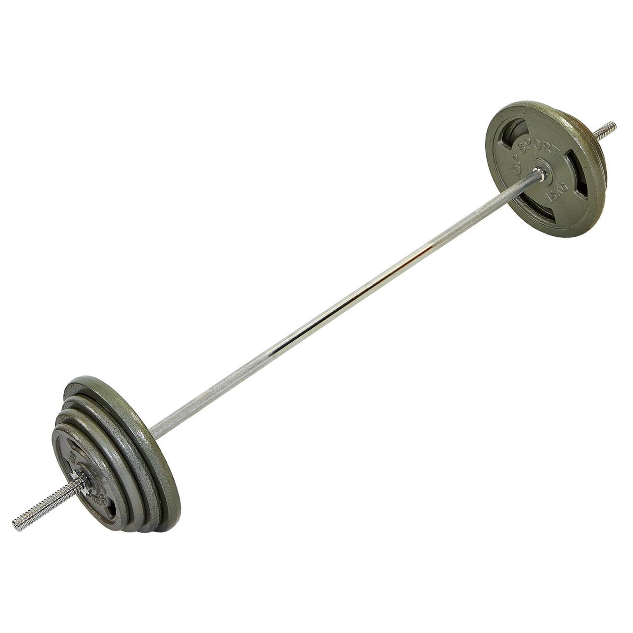 Штанга (сталеві млинці) 80кг HIGHQ SPORT TA-2431-80 (гриф TA-8068 l-1,8 м, млинці 2x(5+7,5+10+15кг)