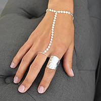 Восточное украшение на руку Слейв цепочка браслет через палец Серебро №2
