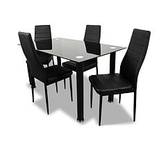 Комплект кухонной мебели стол и 4 кресла Panana черный