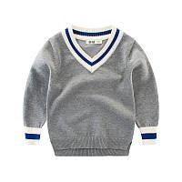 Пуловер для мальчика Синяя полоска, серый 27 KIDS (90)
