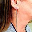 Длинные серебряные серьги - Серьги висюльки Круги серебро 925, фото 5
