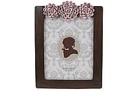 Рамка для фото прямоугольная с объемным декором, 26см, цвет - темно-коричневый с розовым, размер фото -