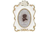 Рамка для фото овальная с объемным декором, 24см, цвет - белый с золотом, размер фото - 10*15см BonaDi 450-190