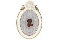 Рамка для фото круглая с объемным декором, 26см, цвет - белый с золотом, размер фото - 13*18см BonaDi 450-191