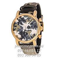 Стильные кварцевые часы с хронографом Emporio Armani ar1735 gold хаки