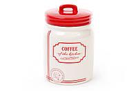 Банка керамическая Coffee 900мл для сыпучих продуктов красная Red&Blue BonaDi DM109-S