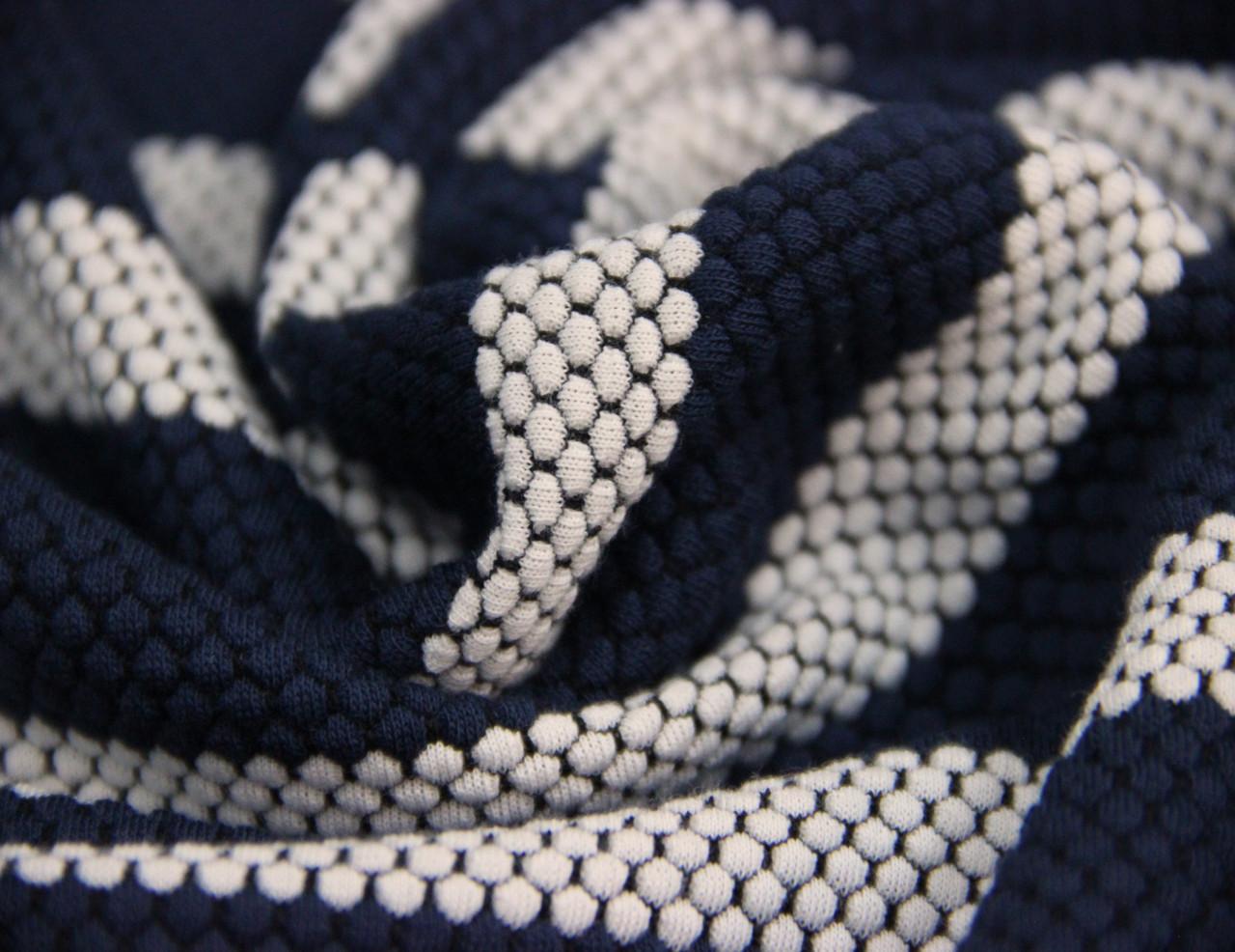 Трикотаж болгарский вискозный смесовый полосатый бело синий AN 15