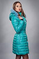 Зимня женская молодежная куртка. Код К-52м-12-15. Цвет бирюзовый.