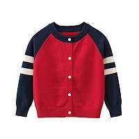 Кардиган детский Белые полоски, красный 27 KIDS (90)