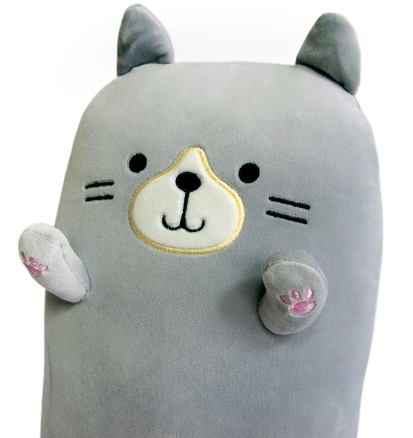 Плюшевая игрушка-подушка в виде кота, серого цвета 40х20х14 см, кот подушка   м'яка іграшка кіт для