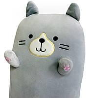 Плюшевая игрушка-подушка в виде кота, серого цвета 40х20х14 см, кот подушка   м'яка іграшка кіт для, фото 1