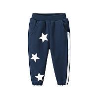 Штаны детские утеплённые Белые звёзды, синий 27 KIDS (90), фото 1