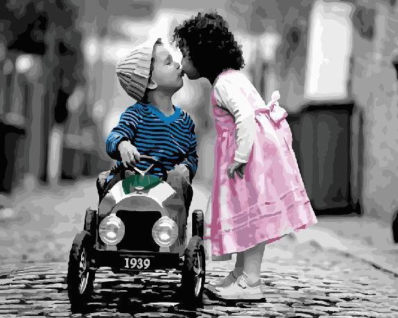 Картини за номерами 40×50 см. Дитячий романтичний поцілунок (GX22639)