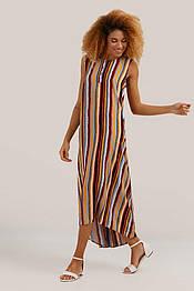 Длинное летнее платье в пол из вискозы Finn Flare S19-12061-315 без рукавов в полоску оранжевое