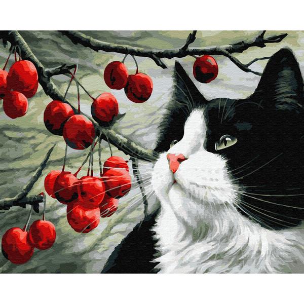 Кіт і ягоди (GX32534). Картини за номерами 40×50 див.