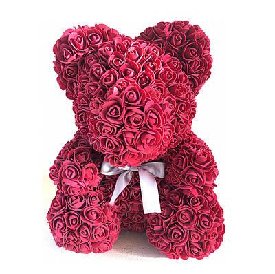 Мишка из роз Бордовый 25 см 181827