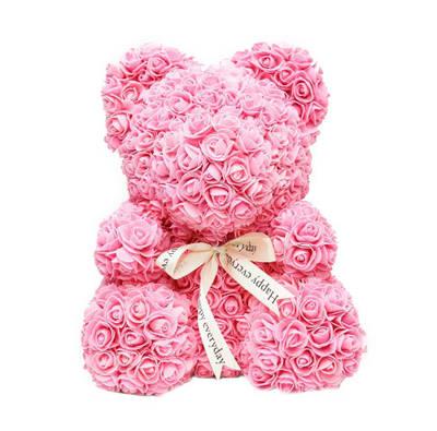 Мишка из роз Светло-Розовый 25 см 181828