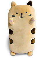 Подушка кіт плюшевий, персикового кольору 40х20х14 см, м'яка іграшка кіт для сну | подушка кот для детей, фото 1