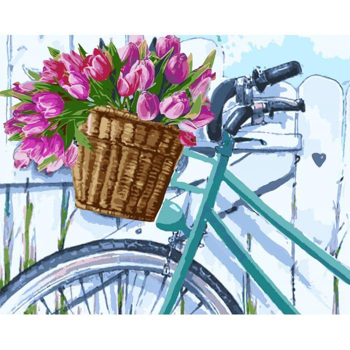 """Картина по номерам. Сельский пейзаж """"Утренние тюльпаны"""" 40*50см * KHO2219"""