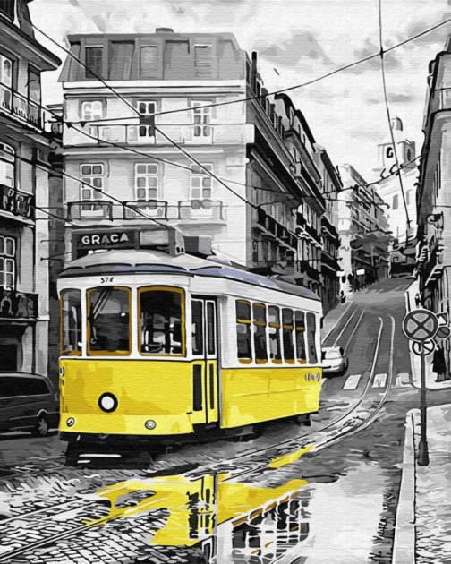 Жовтий трамвай на дощовою вулиці ( GX30147) Картини за номерами 40×50 див.