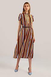 Довге плаття сорочка Finn Flare S19-12059-315 в смужку помаранчеве