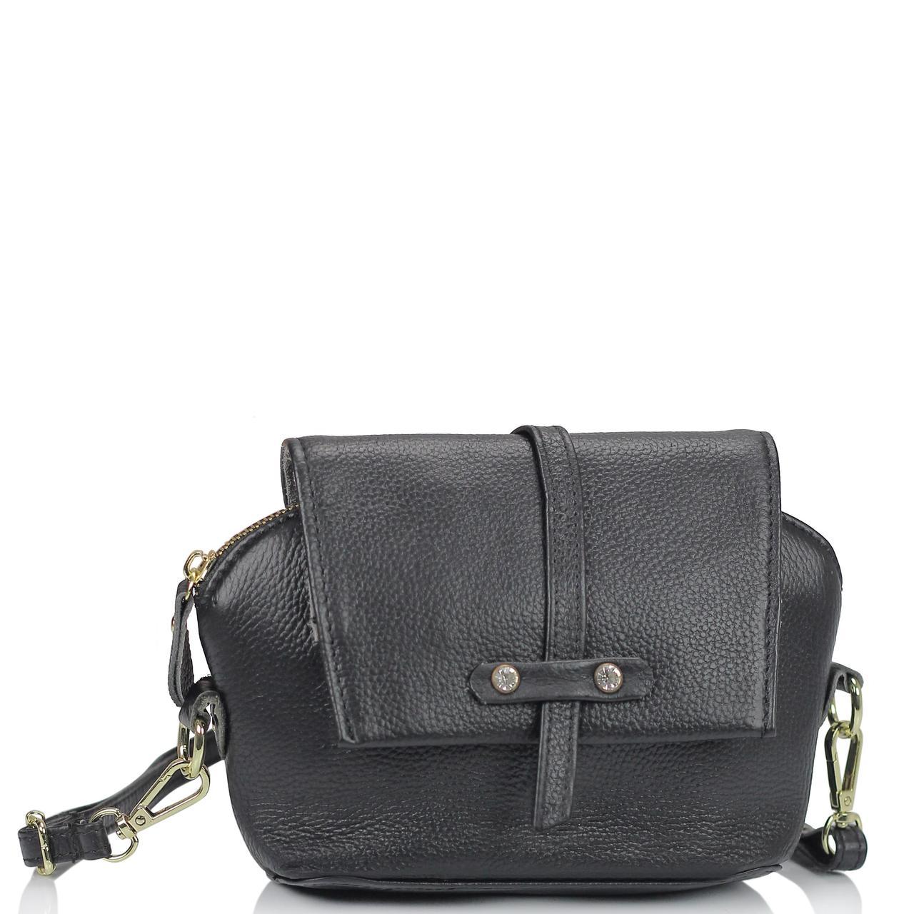 Женская кожаная сумочка кроссбоди черная Riche NM20-W645A