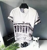 Модная мужская футболка белого цвета с чернам принтом Dolce & Gabbana С М Л ХЛ ХХЛ бренд одежда