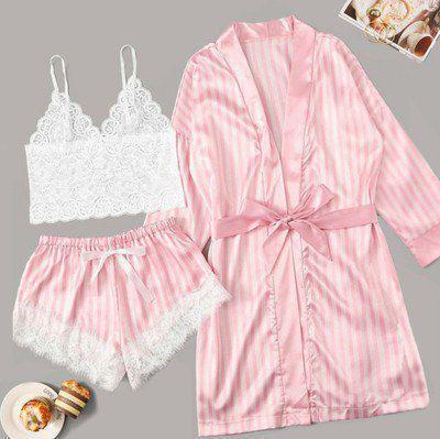 Жіноча піжама з шортиками ( комплект з трьох речей - топ, халат і шорти)
