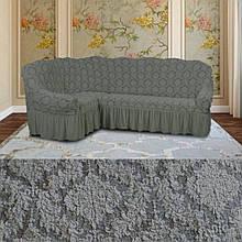 Натяжные чехлы на угловой диван и кресло турецкие Серый жаккардовый с оборкой Разные цвета