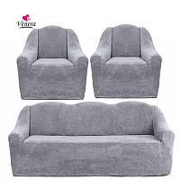 Чехлы на диван и два кресла меховые, плюшевые, без оборки внизу, для мягкой мебели, натяжные Venera Серый