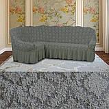 Натяжные чехлы на угловой диван и кресло турецкие Кофейный жаккардовые Разные цвета, фото 2