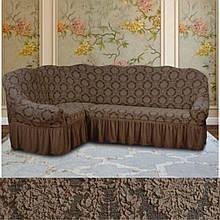 Натяжные чехлы на угловой диван и кресло турецкие Кофейный жаккардовые Разные цвета