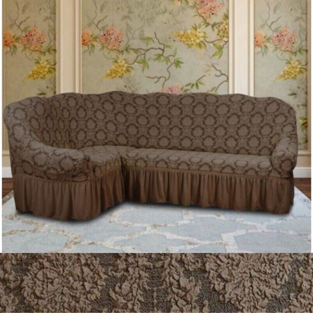 чехлы на угловые диваны и кресла с оборкой жаккардовые кофейный