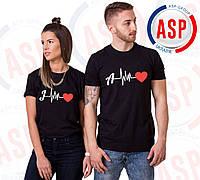Футболки парные на день святого Валентина Ваши инициалы, пульс, сердце печать на футболках за 1 день