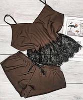 Шоколадный комплект пижама майка и шорты.