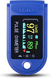 Пульсометр оксиметр на палец (пульсоксиметр) JN P01 TFT Blue, фото 3