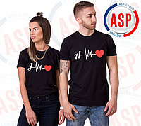 Парные футболки для пары влюбленных на 14 февраля печать Ваших инициалов под заказ за 1 день