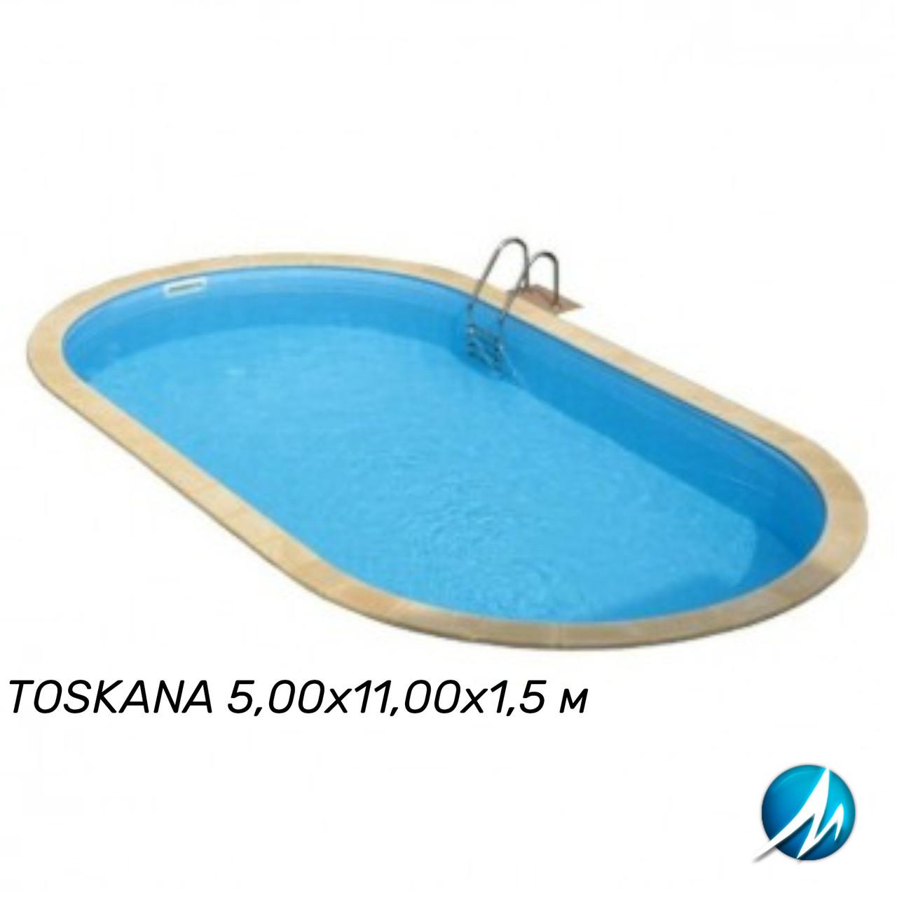 Сборный овальный бассейн TOSKANA 5,00х11,00х1,5 м, пленка 0,6 мм