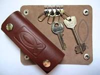 Чехол для ключей с карабинами кожаный Рыбка