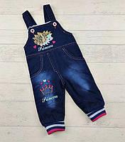 Комбінезон джинсовий для дівчаток на махрі на вік:2,3,4,5,6 років